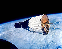 Gemini 7 in orbit, as seen by the crew of Gemini 6